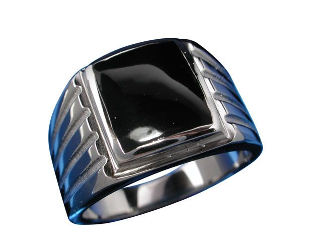 Stainless Steel 13mm Onyx Ring