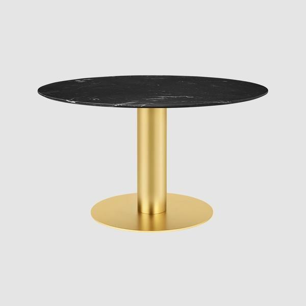 Gubi 2 0 Dining Table Round Dia 130 Brass Base Circular