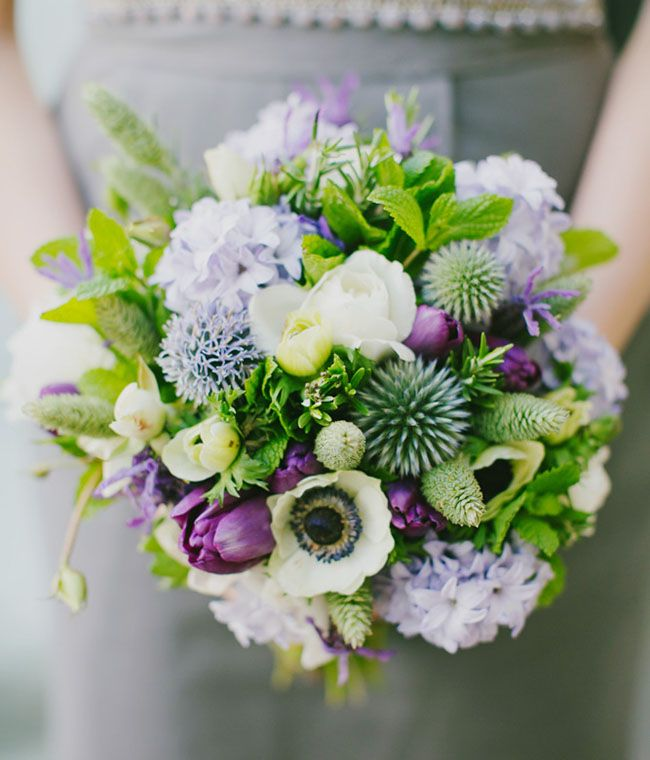 bridesmaid bouquet with anemone, tulips + greens