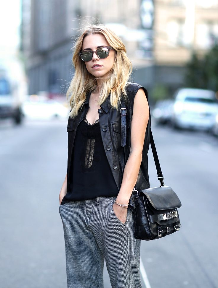 Dressy sweatpants, leather and heels