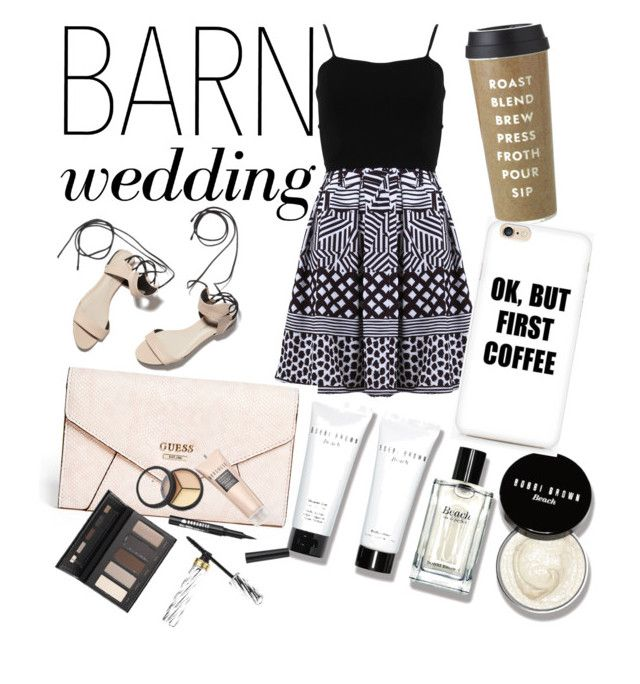 Untitled #41 by natalka-safranekova on Polyvore featuring polyvore fashion style FRACOMINA GUESS Borghese Bobbi Brown Cosmetics Kate Spade 3.1 Phillip Lim clothing bestdressedguest barnwedding