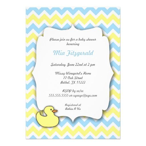 duck chevron baby shower invites blue and yellow duck birthday party