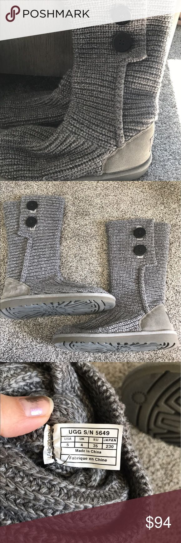 Women's Ugg Sweater button boots sz 5 Women's Ugg Swearter button boots size 5 super cute! Worn only once or twice! Excellent like new condition! Fits a 7.5 to 8 in women's! Color is grey! 100% authentic! No flaws! Smoke free home! UGG Shoes Winter & Rain Boots
