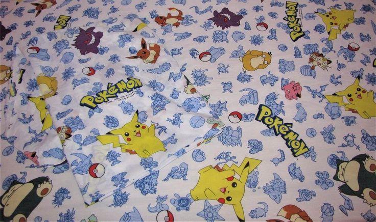 Pokemon Twin Bed Sheet Set Vintage 1998 Flat Fitted Pikachu Nintendo Pokeball  #Nintendo