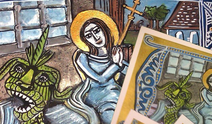 Saint Martha and the legend of the Tarasque Art Icons - hand painted original icons and prints available too  by artist amy adams aka yami find her here or on social media @amyincluj