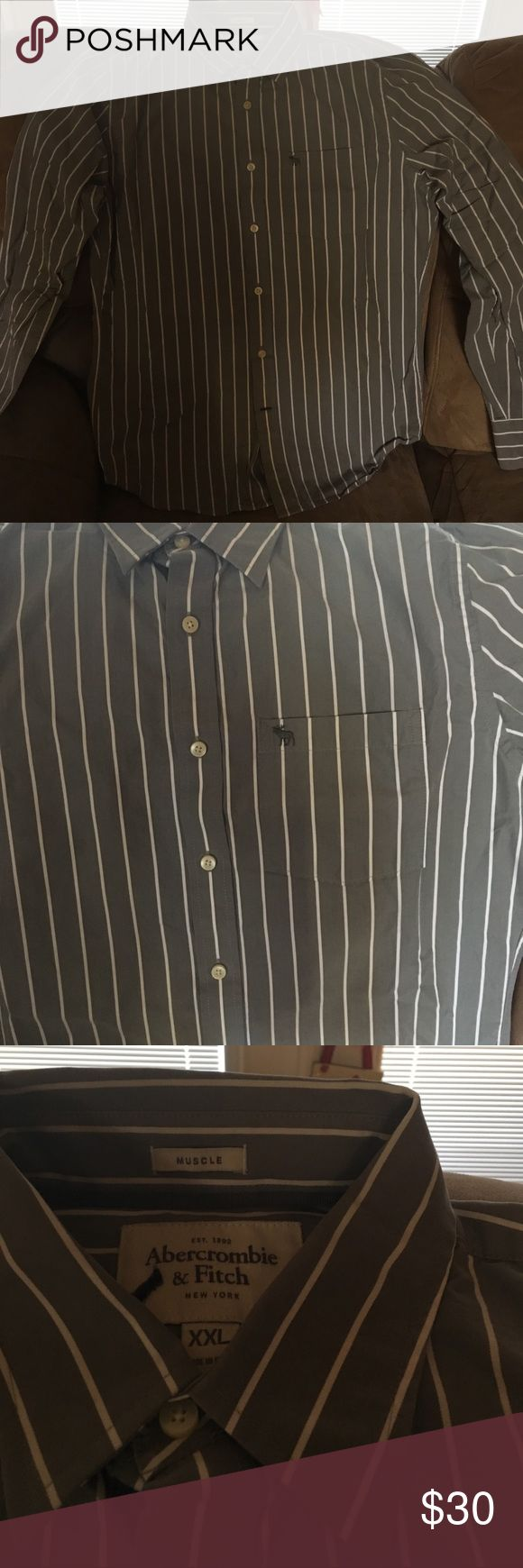 Abercrombie & Fitch Muscle shirt XXL This is a gray with white pin stripe dress shirt. Barely worn. Like new condition. No flaws whatsoever. XXL size Abercrombie & Fitch Shirts Dress Shirts