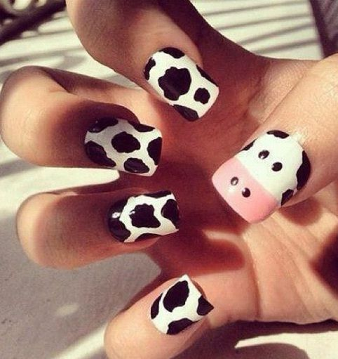 Black and White Milky Cow Super Cute Nail Designs : Best Nail Art ...