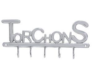 Accroche torchons 5 crochets en aluminium brossé Jardin d'Ulysse