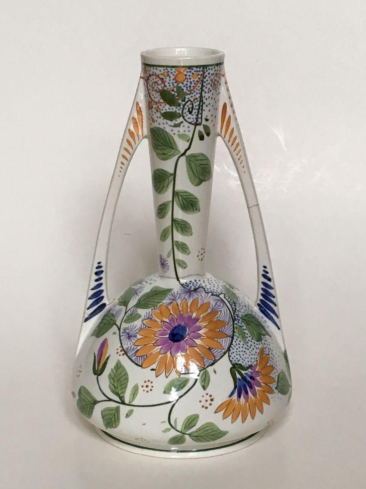 Vase design Henri Breetvelt executed by Societé Céramique Maestricht circa 1902-1906. Dutch Art Nouveau.