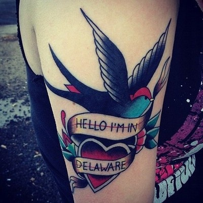 This is my City and Colour tattoo, its also my first tattoo. Hello, I'm In Delaware is a song from their album Sometimes, and the design is based off that album art work. Chris Oakley did it from Neighborhood Tattoo in Regina, SK, Canada. The song is my favorite one from that album and it helped me get through some rough times so I decided to make a tattoo out of it. 4 hours of work and it was so worth it! I am so in love with my ink and love to look at it everyday.
