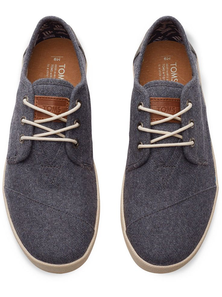 Step out to support men's health in these TOMS x @Movember grey wool Paseos. This pair has a embroidered moustache on the heel.