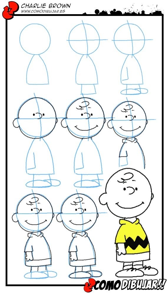 http://www.comodibujar.es/tutoriales-dibujo/como-dibujar-a-charlie-brown/