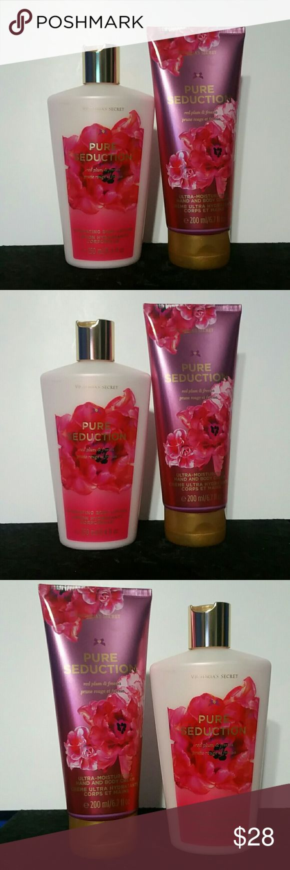 2 PURE SEDUCTION BODY LOTION & BODY CREAM BIG! NEW VICTORIA'S SECRET SET/BUNDLE OF 2  PURE SEDUCTION BODY LOTION & HAND & BODY CREAM. BIGGEST/FULL SIZES!!  1) PURE SEDUCTION HYDRATING BODY LOTION 8.4OZ/250ML BIGGEST SIZE!  2) PURE SEDUCTION ULTRA MOISTURIZING HAND & BODY CREAM 6.7OZ/200G BIGGEST SIZE!  NEW! BRAND NEW! NEVER USED, TESTED, OR OPENED!  FAST SHIPPING!!  BUNDLE & SAVE!!  No Smoking, Buy It Now, Bundle Discounts Available, Reasonable Offers Accepted, NO Trades!  HAPPY SHOPPING=)…