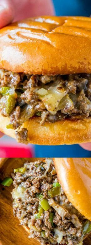 These Philly Cheese Steak Sloppy Joes from Dinner Then Dessert will make you fall in love with sloppy joes again. They are a super easy dinner with all your favorite Philly Cheese Steak flavors!