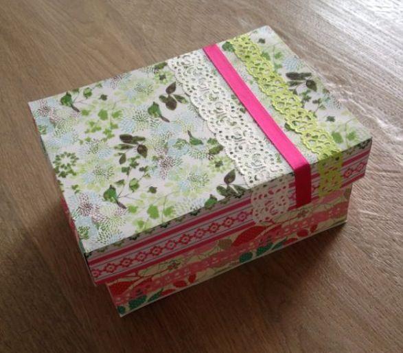 (Kinder) schoenendoos beplakt met scrapbook papier // Shoebox with scrapbookpaper