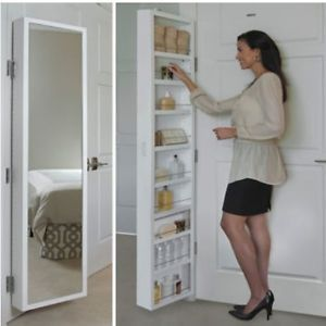 Full Length Behind Door Mirror Hidden Storage Cabinet Closet Room Organizer  NEW