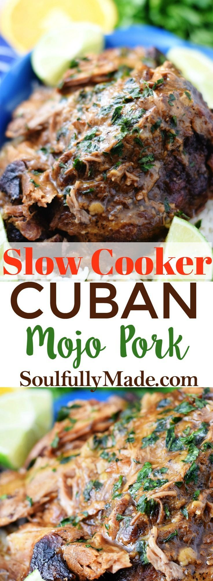 Slow Cooker Cuban Mojo Pork marinates in the fantastic flavors of citrus, garlic, oregano, and cumin all while cooking to a delicious tenderness. This an easy and flavorful meal that is perfect for any day of the week! #slowcooker #crockpot #CubanPorkRoast #CubanMojoPork #MojoPork #Mojo #CubanFood