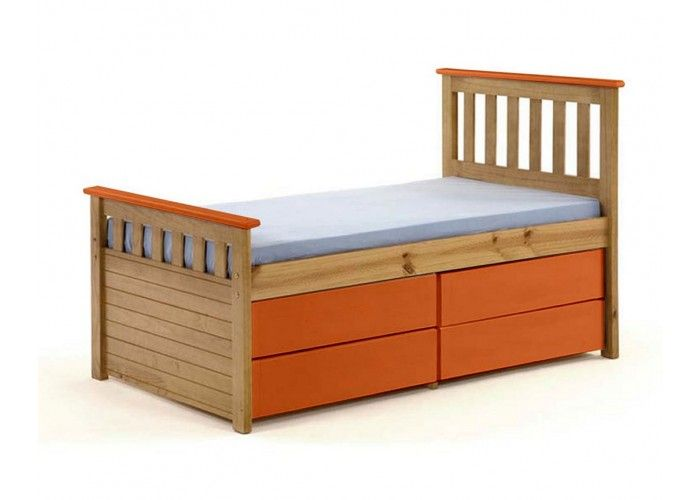 http://www.bonsoni.com/captains-short-ferrara-storage-bed-3ft-antique-with-orange-details   Slatted bed base included. Matching furniture (wardrobes, bedsides, chest of drawers, dressing table, stools, shelves, storage units, mirrors and lighting) is available.   http://www.bonsoni.com/captains-short-ferrara-storage-bed-3ft-antique-with-orange-details