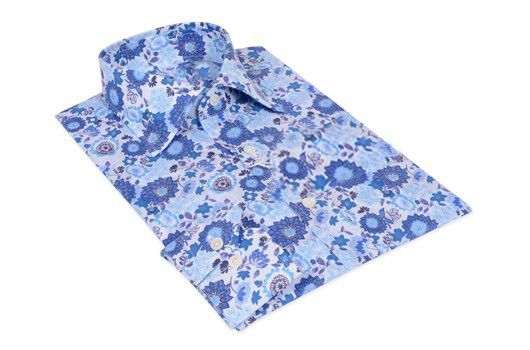 Small Blue Flower Cotton Shirt 100% Italian cotton fabric Made in Italy Straight fit (slim fit optional)