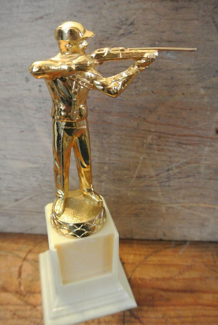 Vintage Shooting Trophy Metal Trophy Resin Base Marksman Trophy Metals Vintage