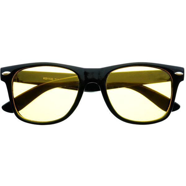 Polarized Night Driving Yellow Lens Wayfarer Black Sunglasses W2071 ($11) ❤ liked on Polyvore featuring accessories, eyewear, sunglasses, wayfarer style glasses, yellow sunglasses, lens glasses, wayfarer sunglasses and yellow glasses