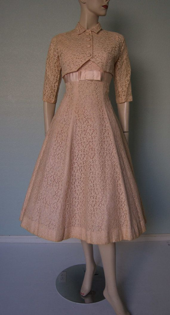 1950s Junior Theme New York - Pretty Lace Party Dress with Matching Bolero Jacket - Princess Seams - Bridal - Occasion - Party