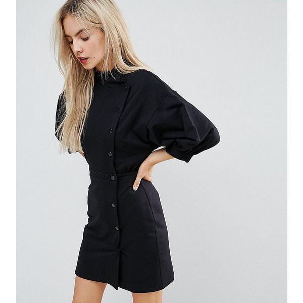 ASOS PETITE 80s Button Through Mini Dress (71 CAD) ❤ liked on Polyvore featuring dresses, black, short petite dresses, denim mini dress, asos dresses, asymmetrical dresses and denim button dress