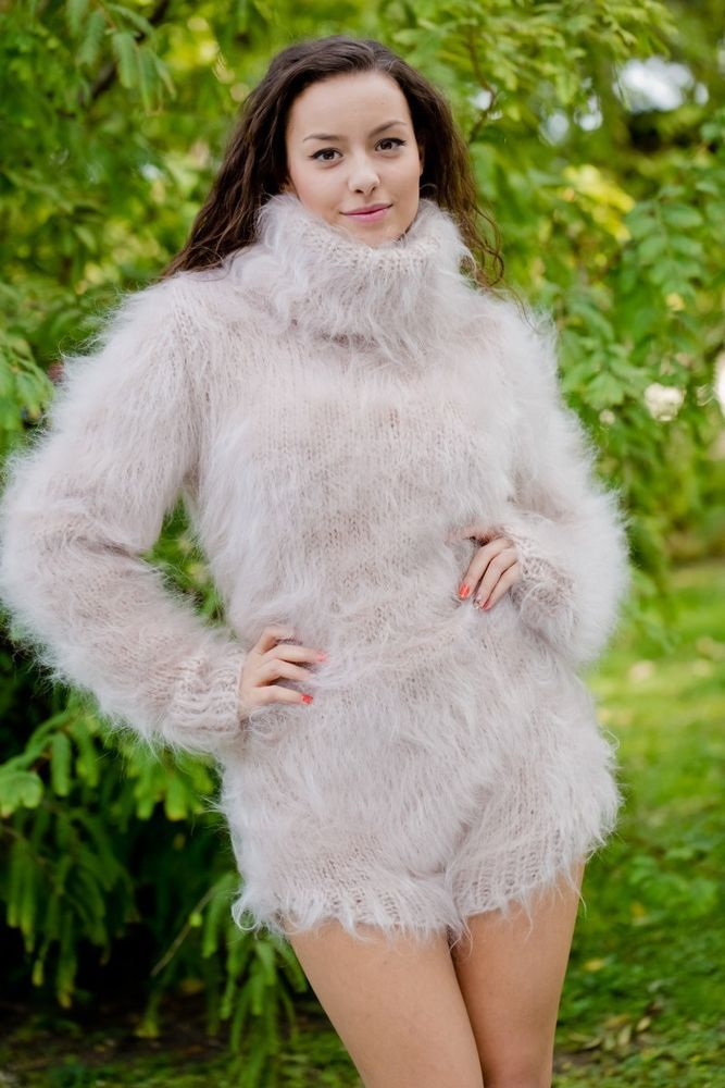 Tiffy Mohair T Neck Sweater Bodysuit Hand Knitted Fuzzy