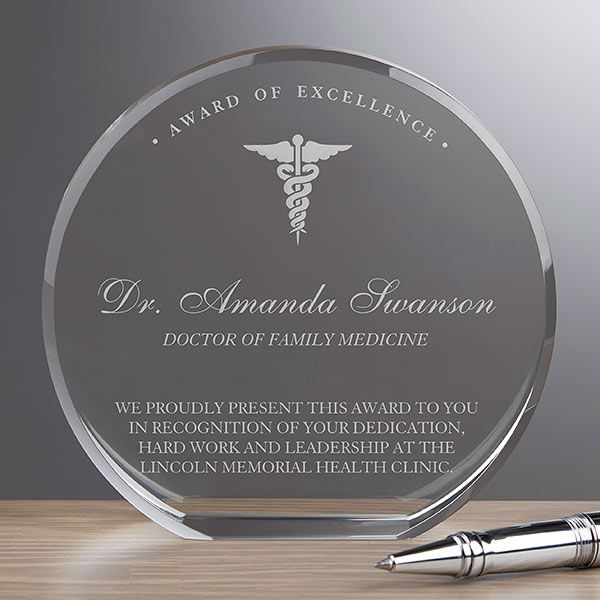 Buy personalized crystal award to recognize an outstanding doctor or medical professional. Add up to 7 lines of text! Free personalization & fast shipping.