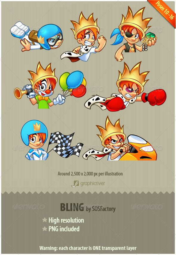 New release of the Bling Series, in this item we have Lord Bling doing different activities: - Aviator - Running away - Pirate -