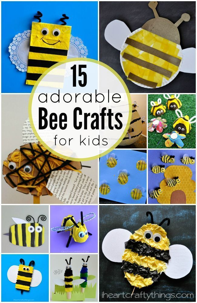 15 Adorable Bee Crafts for Kids featured on iheartcraftything....