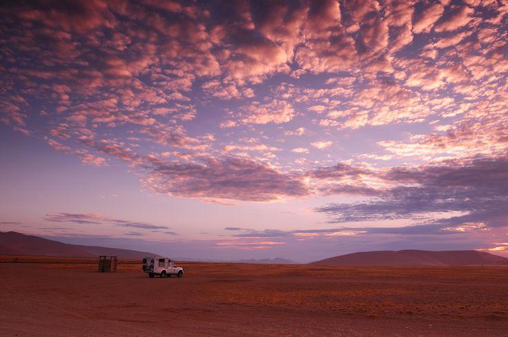 Sunrise with colorful clouds, Namib Naukluft National Park, Hardap Region, Namibia