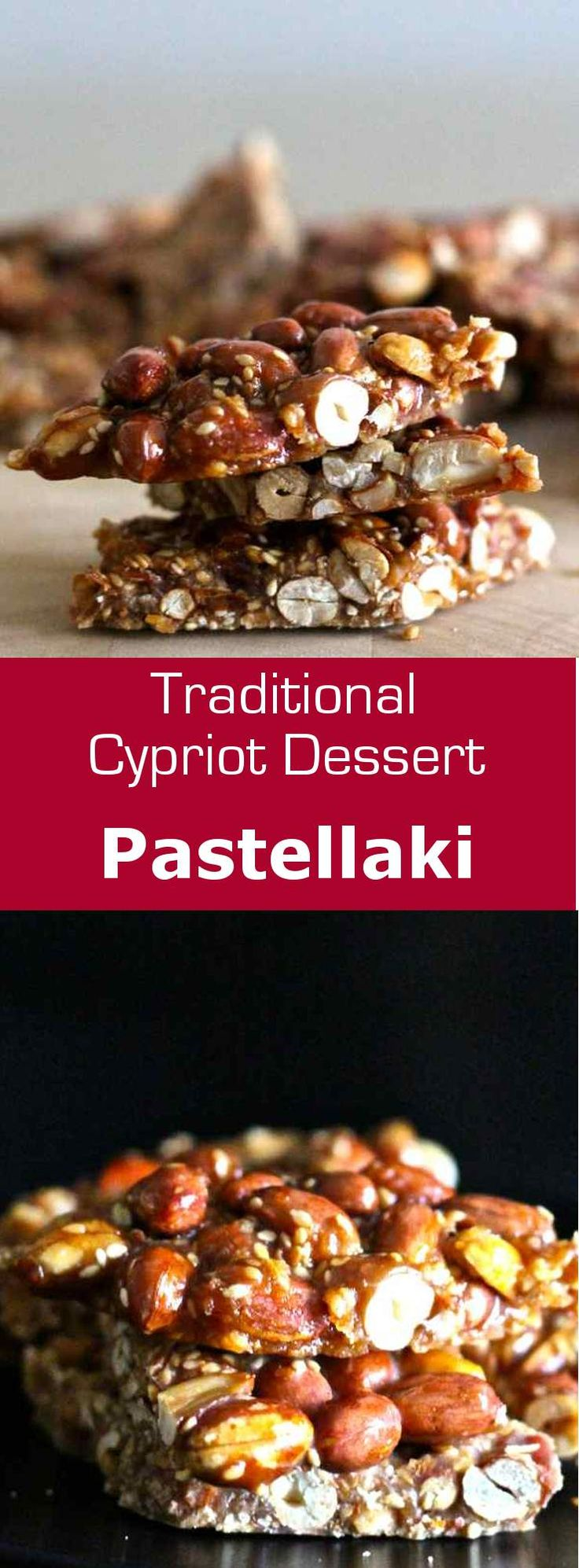 Pastellaki is a traditional sesame seed and peanut candy from Cyprus. #dessert #snack #candy #vegetarian #vegan #glutenfree #cyprus #196flavors