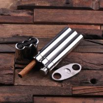 Custom Steel Cigar Case w/ Whiskey Flask & Cutters