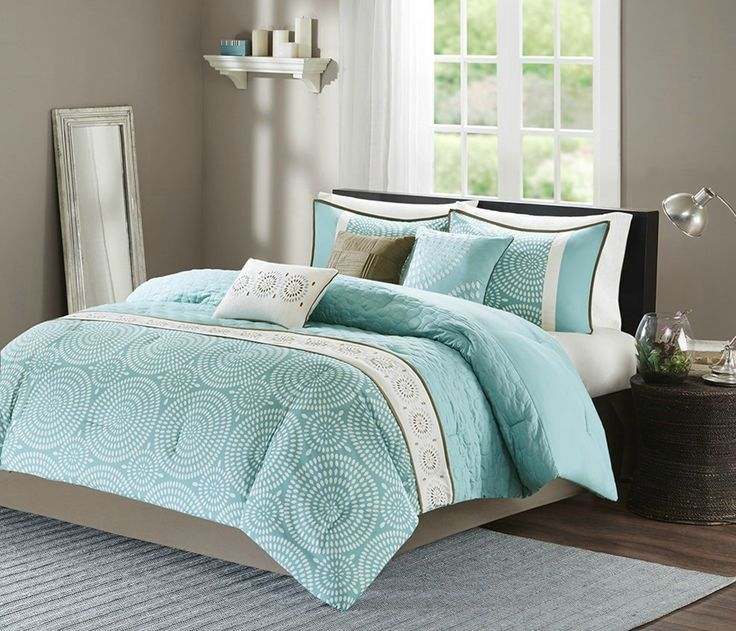 Phoebe by the Sea Aqua Comforter Set - Queen Size