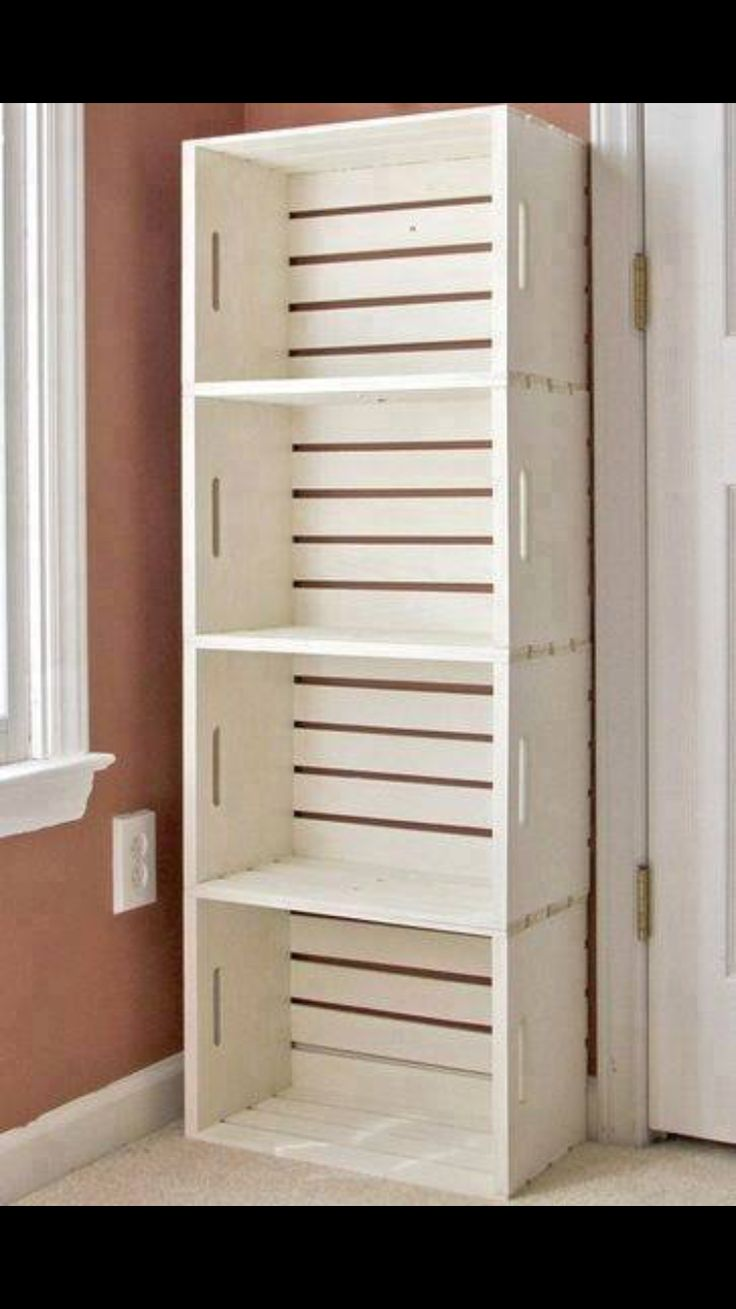 Shelves made from painted stacked crates