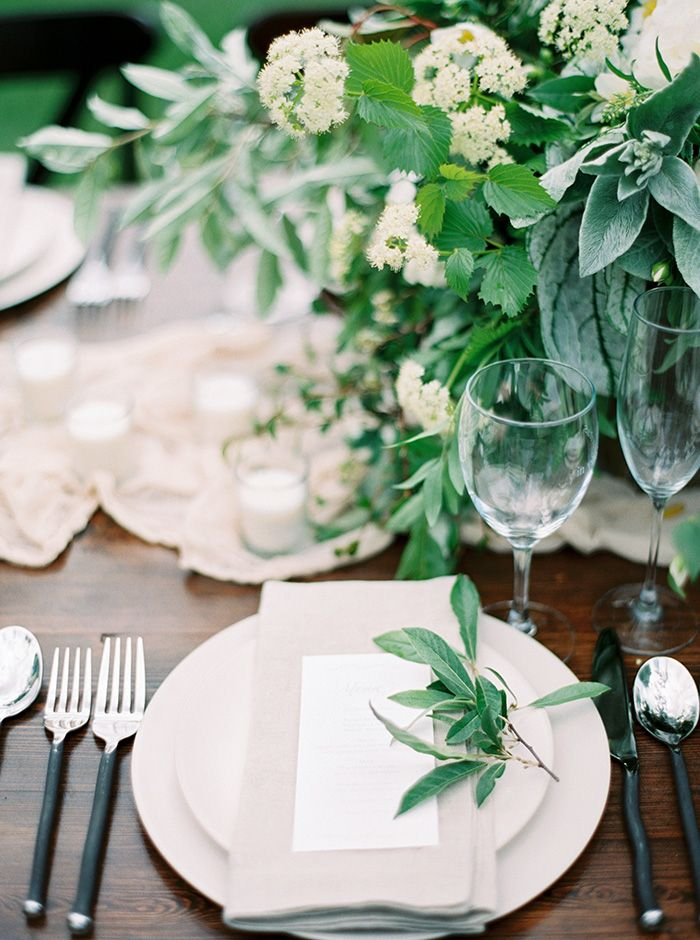 Foraged Greenery Centerpiece with Black and Nude Decor