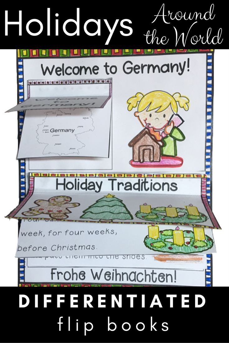 """This Holidays Around the World Unit has differentiated reading activities for each country they """"visit."""" With each project page of the journal, students discover different cultures and traditions.   Liftable flaps includes layers of information about each country's food, holiday customs, cultural beliefs, and more.   Click here for more information about this engaging unit!"""