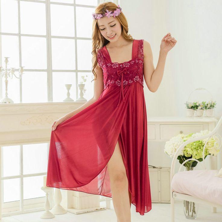 Freies verschiffen lange spitze sexy nachthemd für frauen mädchen bow lange Elegante Nachtwäsche nachthemd schöne nacht kleid Y216