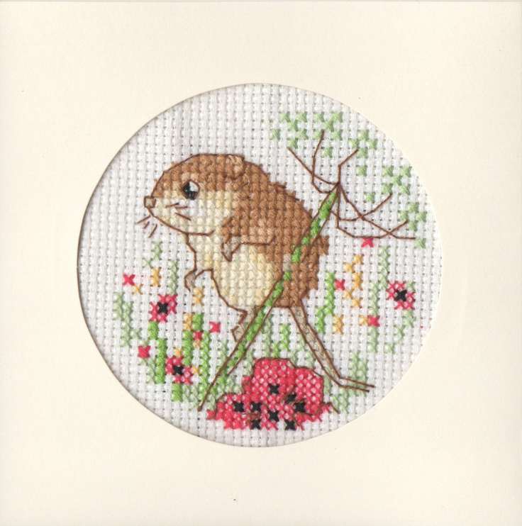 Field Mouse Cross-stiched Card