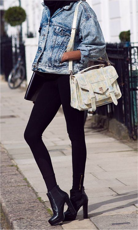 all black with jean jacket