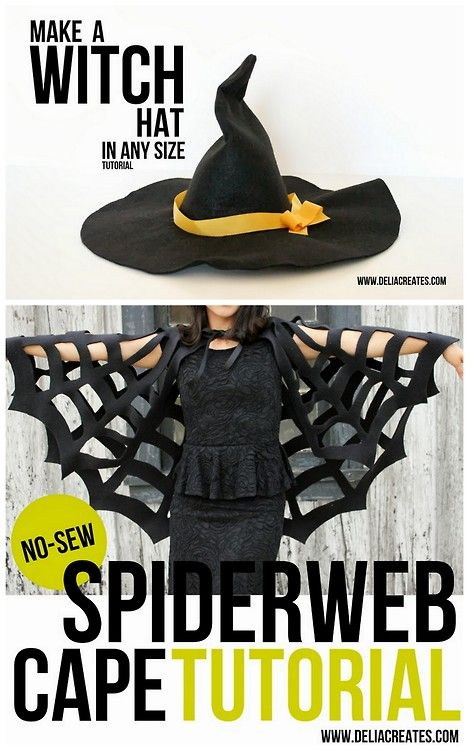 halloween DIY Witch Hat and Cape Tutorial from Delia Creates.