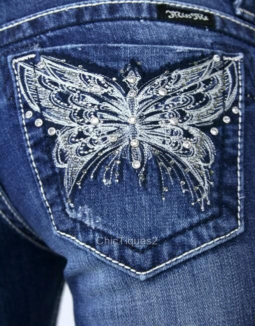 Miss Me Jeans from tribal tattoos.com - love the jeans & butterflies