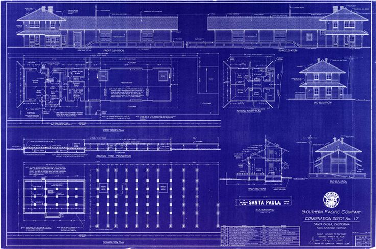 86 best railroad blueprints and drawings images on pinterest model santa paula california 1887 southern pacific railroad depot handmade blueprint 24 x malvernweather Image collections