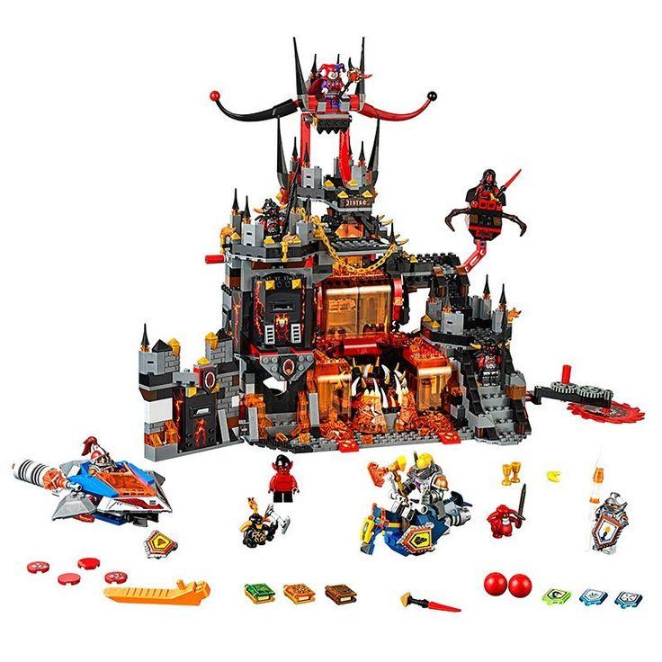 Nexo lepin knights axl jestros volcano lair kombinasi blok bangunan kit mainan marvel kompatibel legoe nexus
