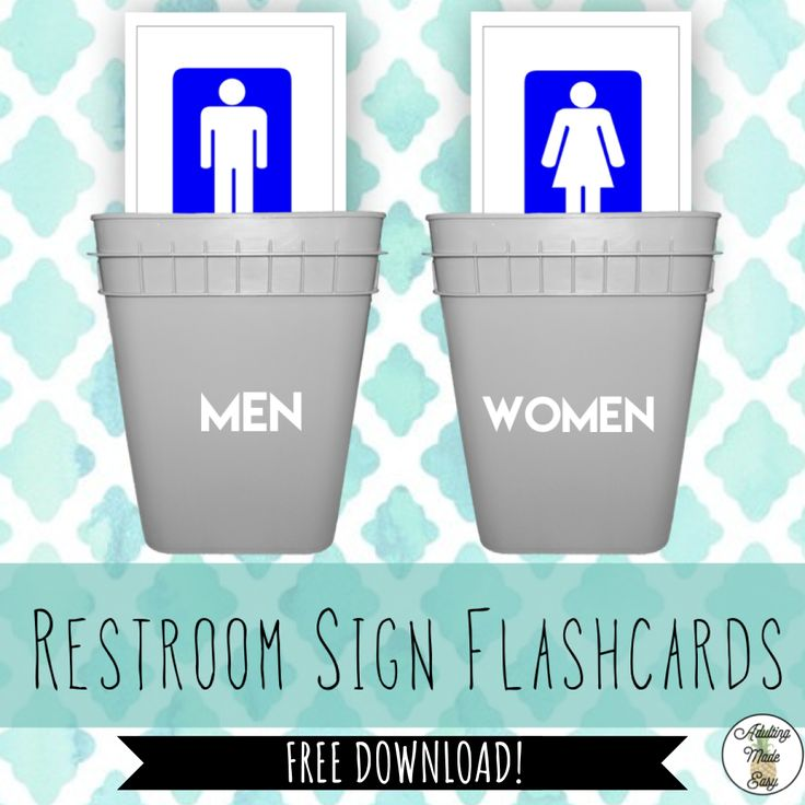 FREEBIE 32 visual restroom/bathroom flashcards in different variations. (16 WOMEN's and 16 MEN's) Have student sort male/female signs into different piles or have student identify which restroom sign they should look for in the community. Add in other community sign visuals to create a field of 3 or more. #specialeducation #sped #lifeskills #sorting #taskbin #taskbox #communitybasedinstruction #cbi #bathroom #restroom #communitysigns