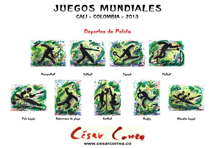 AFICHE JUEGOS MUNDIALES CALI 2013 DEPORTES DE PELOTA