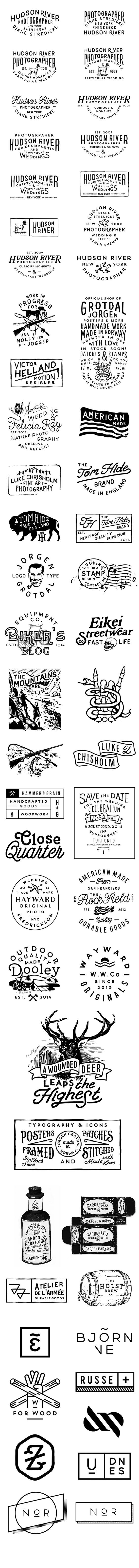 Hand drawn type and logo types and badges. Vintage look and feel. great stuff!: