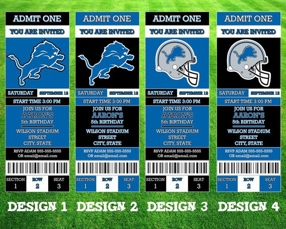 Detroit Lions Ticket Invitation by AWilsonDesigns on Etsy