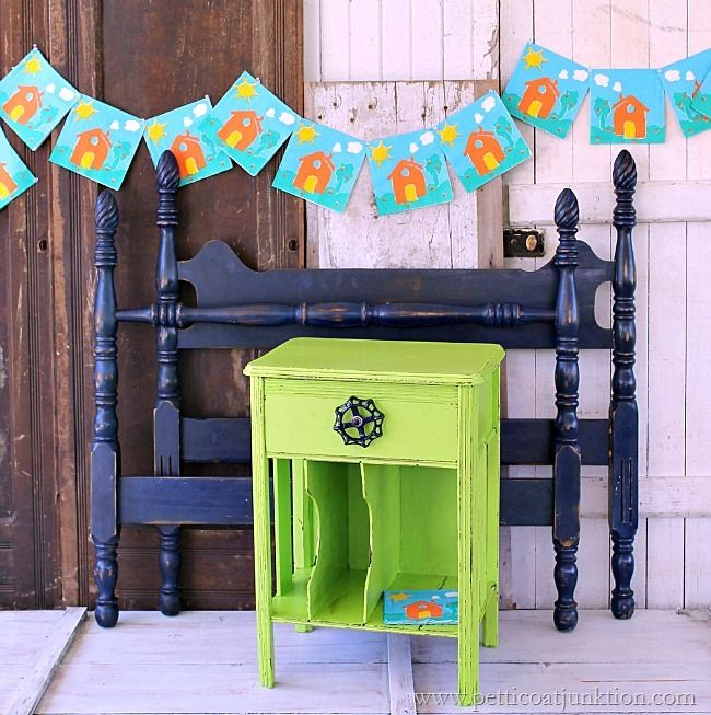 Painted Furniture. Green Nightstand And Navy Blue Twin Bed Perfect for A Young Boy's Bedroom! @BEHR® @Simple Green #paintedfurniture